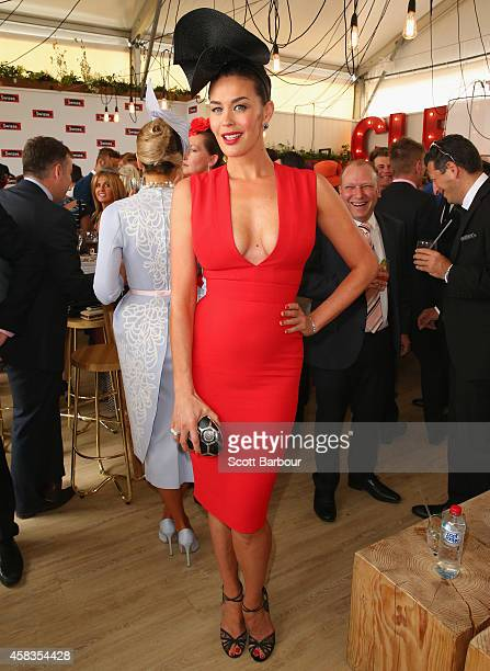 Megan Gale attends the Swisse Marquee on Melbourne Cup Day at Flemington Racecourse on November 4 2014 in Melbourne Australia