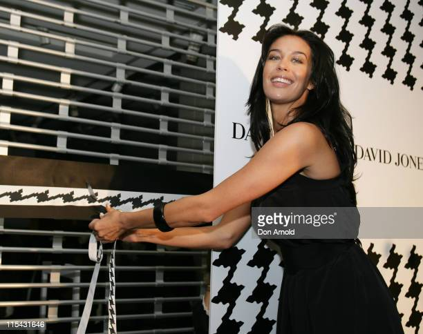 Megan Gale cuts ribbon to open the store during Megan Gale Opens the David Jones Store in Burwood May 5 2007 at David Jones in Burwood Australia