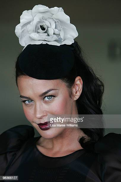 Megan Gale poses at the David Jones marquee during Australian Derby Day at Royal Randwick Racecourse on April 10 2010 in Sydney Australia