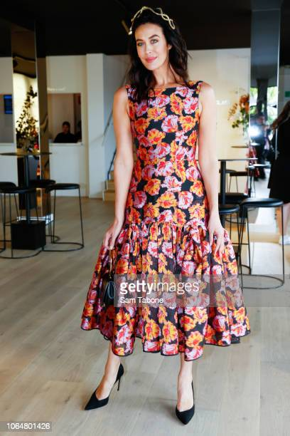 Megan Gale poses at the Lexus Marquee on Oaks Day at Flemington Racecourse on November 08 2018 in Melbourne Australia