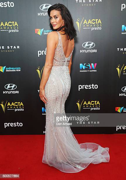 Megan Gale poses on the red carpet for the 5th AACTA Awards at The Star on December 9 2015 in Sydney Australia