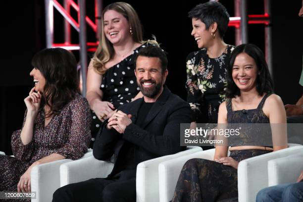 Megan Ganz Jessie Ennis Rob McElhenney Ashly Burch and Charlotte Nicdao of Mythic Quest Raven's Banquet speak on stage during the Apple TV segment of...