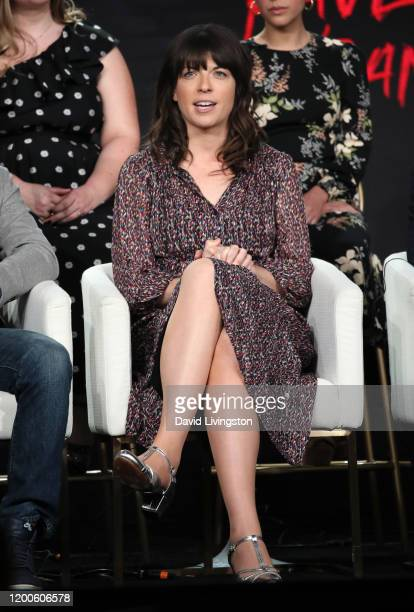 Megan Ganz of Mythic Quest Raven's Banquet speaks on stage during the Apple TV segment of the 2020 Winter TCA Tour at The Langham Huntington Pasadena...