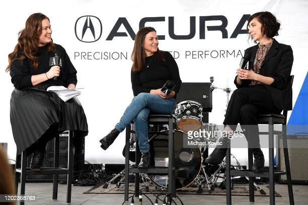 Megan Garber Nanette Burstein and Lana Wilson speak onstage at Acura Festival Village on January 27 2020 in Park City Utah