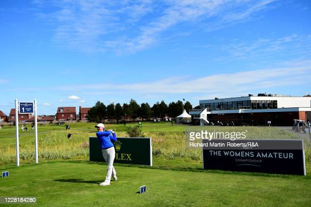 Megan Giles of St Mellion GC tees off during a practice round ahead of the Womens Amateur Championship at The West Lancashire Golf Club on August 24...