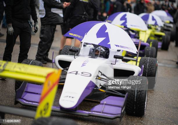 Megan Gilkes of Canada waits ind the rain for the qualifying for the first race of the W Series at Hockenheimring on May 04 2019 in Hockenheim...