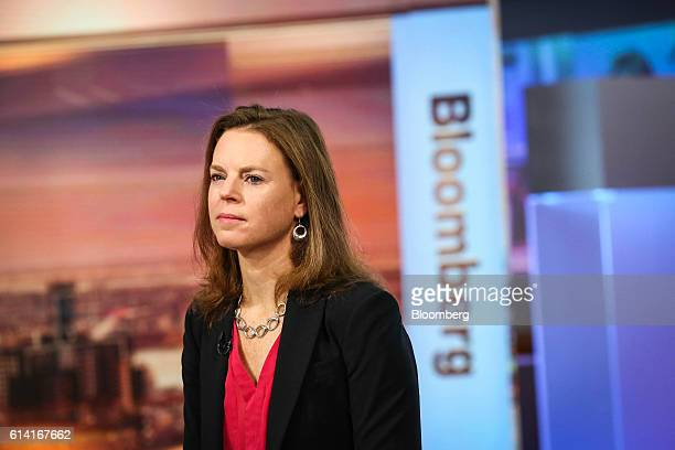 Megan Greene chief economist at Manulife Asset Management US LLC listens during an Bloomberg Television interview in New York US on Wednesday Oct 12...