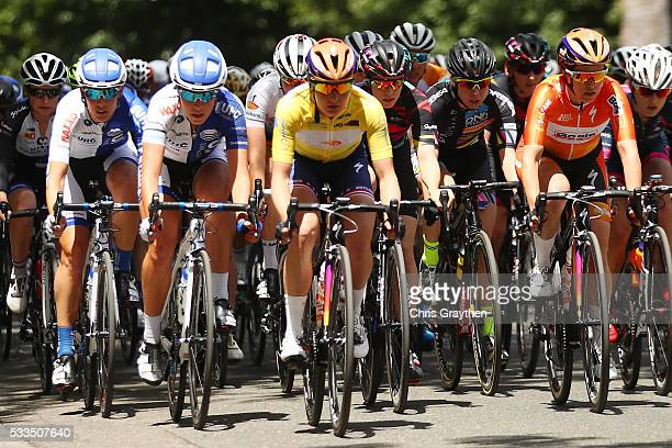 Megan Guarnier of the United States riding for team Boels-Dolmans Cycling Team in the yellow leader's jersey rides in the peloton during stage four...
