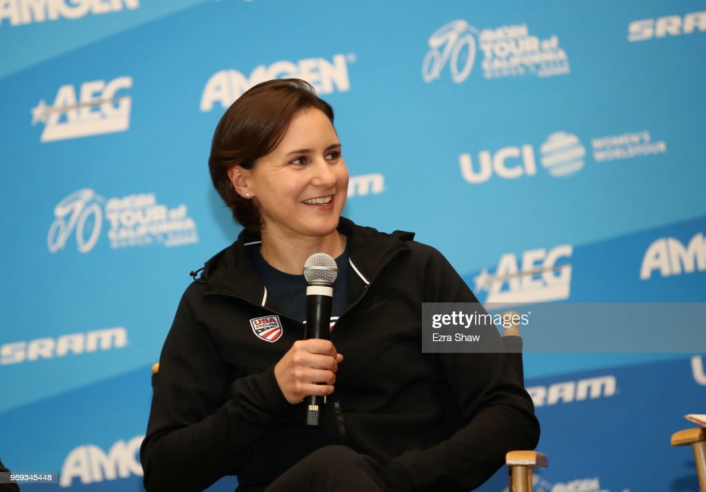Megan Guarnier of the United States riding for US Cycling National Team speaks to the media at the pre-race press event for the Amgen Tour of California Women's Race Empowered with SRAM at the Elk Grove Regional Park Pavilion on May 16, 2018 in Elk Grove, California.