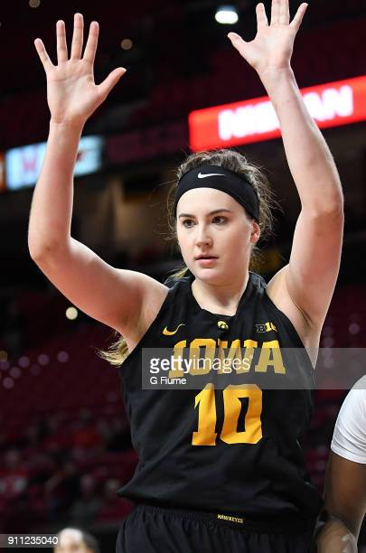 Megan Gustafson of the Iowa Hawkeyes defends against the Maryland Terrapins at Xfinity Center on January 4 2018 in College Park Maryland