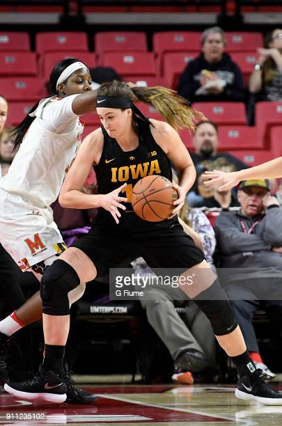 Megan Gustafson of the Iowa Hawkeyes handles the ball against the Maryland Terrapins at Xfinity Center on January 4 2018 in College Park Maryland