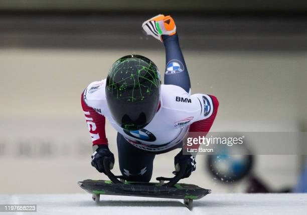Megan Henry of USA competes during the BMW IBSF Skeleton World Cup at Veltins Eis-Arena on January 05, 2020 in Winterberg, Germany.