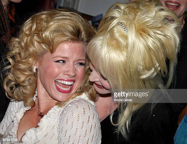 Megan Hilty and Dolly Parton pose backstage at The Opening Night of Dolly Parton's 9 to 5 at The Ahmanson Theater on September 20 2008 in Los Angeles
