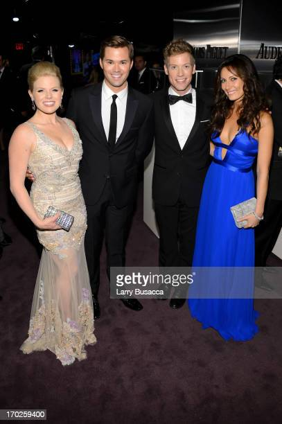 Megan Hilty Andrew Rannells Barrett Foa and Laura Benanti attend The 67th Annual Tony Awards green room at Radio City Music Hall on June 9 2013 in...