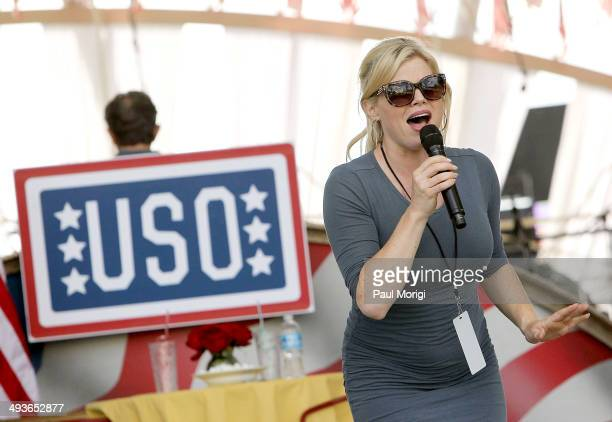 Megan Hilty performs at the 25th National Memorial Day Concert rehearsals at US Capitol West Lawn on May 24 2014 in Washington DC