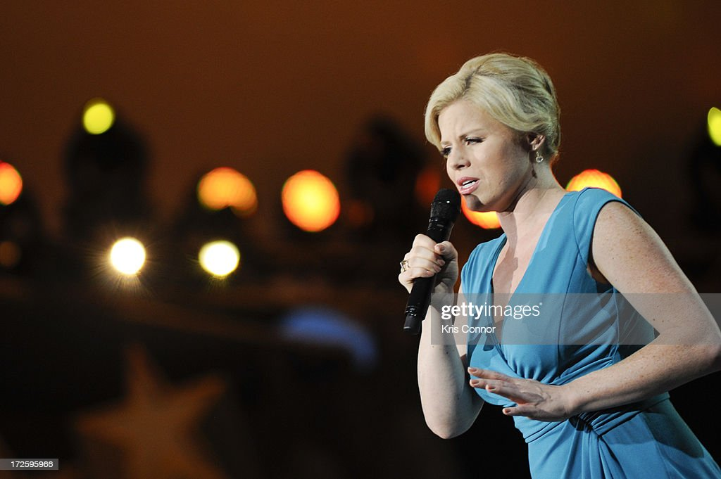 Megan Hilty performs during a rehearsal for the 'A Capitol Fourth 2013 Independence Day Concert' on the West Lawn of the US Capitol on July 3, 2013 in Washington, DC.