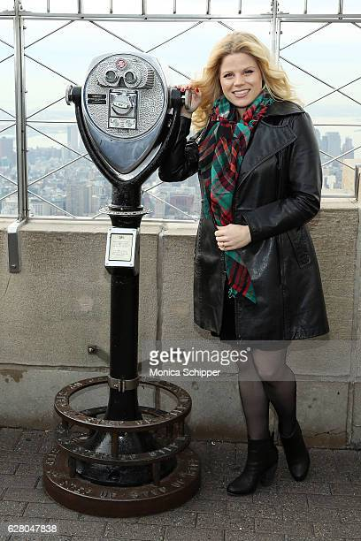 Megan Hilty visits the Empire State Building to promote her new album 'A Very Merry Christmas' at The Empire State Building on December 6 2016 in New...