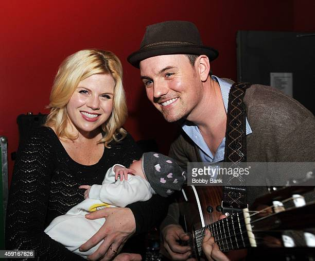 Megan Hilty with her husband Brian Gallagher and daughter Viola Philomena Gallagher attend Rockers on Broadway at Le Poisson Rouge on November 17...