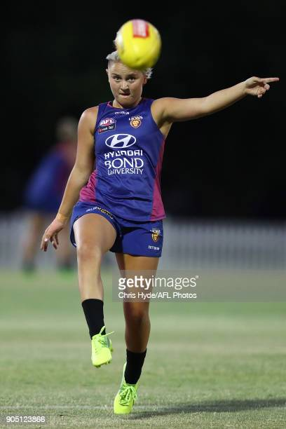 Megan Hunt kicks during a Brisbane Lions AFL training session at Leyshon Park on January 15 2018 in Brisbane Australia