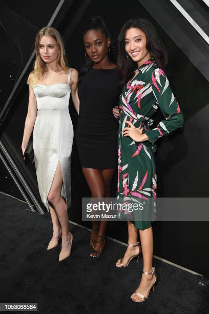 Megan Irminger, Zuri Tibby, and Aqua Parios attend the Pencils of Promise 10th Anniversary Gala at the Duggal Greenhouse on October 24, 2018 in New...