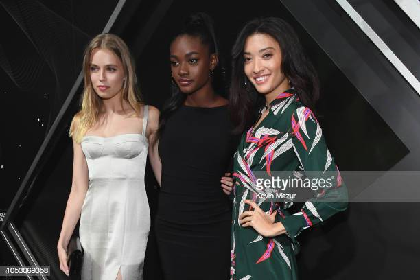 Megan Irminger Zuri Tibby and Aqua Parios attend the Pencils of Promise 10th Anniversary Gala at the Duggal Greenhouse on October 24 2018 in New York...