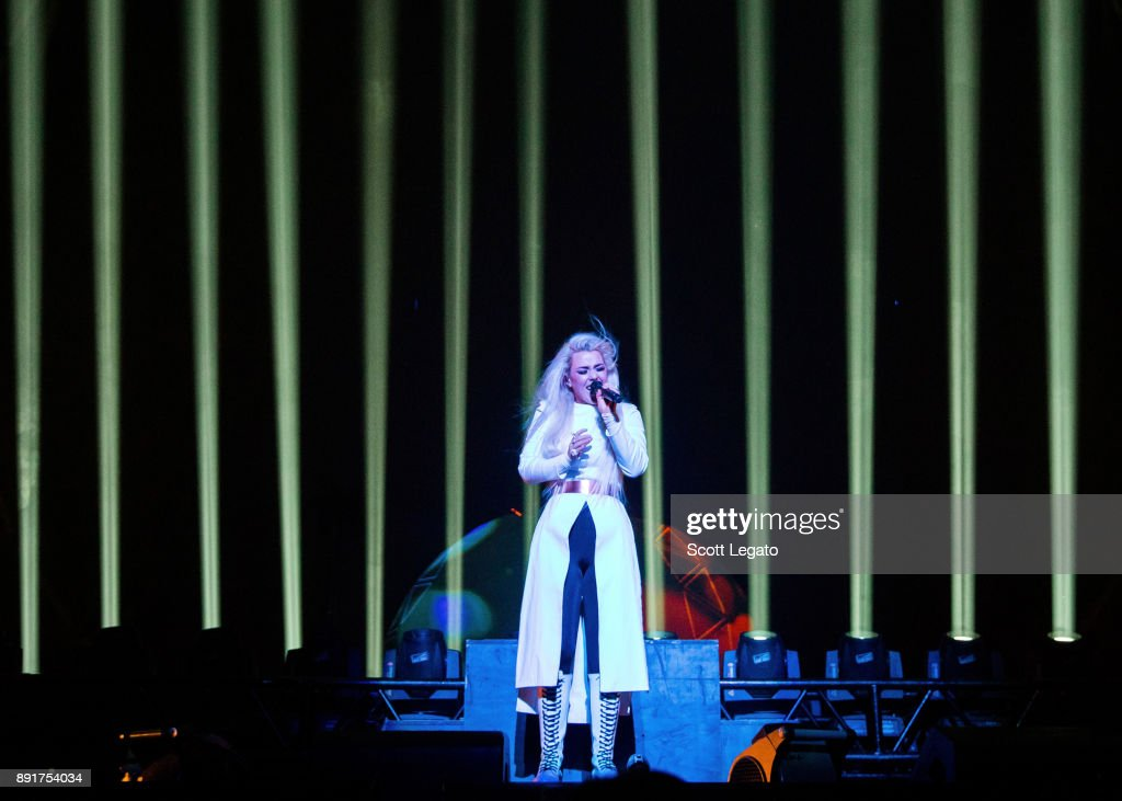 Megan James of Purity Ring performs onstage during her 'Witness: The Tour' at Little Caesars Arena on December 6, 2017 in Detroit, Michigan.