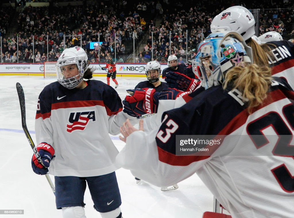 Megan Keller #5 of the United States celebrates a goal against Canada with her teammates during the second period of the game on December 3, 2017 at Xcel Energy Center in St Paul, Minnesota.