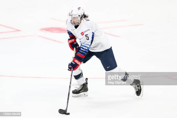 Megan Keller of the U.S. Women's Hockey Team handles the puck in the second period against the Canadian Women's National Team at Honda Center on...