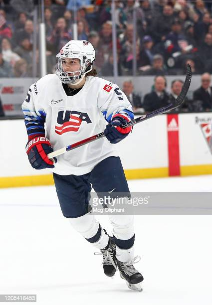 Megan Keller of the U.S. Women's Hockey Team in the game against the Canadian Women's National Team at Honda Center on February 08, 2020 in Anaheim,...