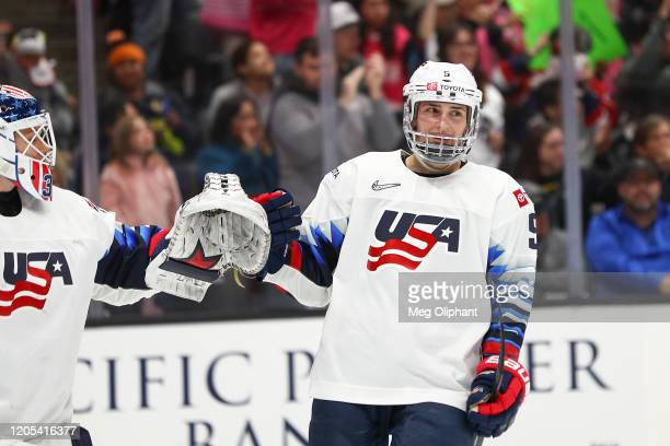 Megan Keller of the U.S. Women's Hockey Team in the third period against the Canadian Women's National Team at Honda Center on February 08, 2020 in...