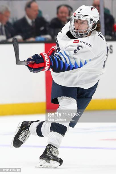 Megan Keller of the U.S. Women's Hockey Team passes the puck in the game against the Canadian Women's National Team at Honda Center on February 08,...
