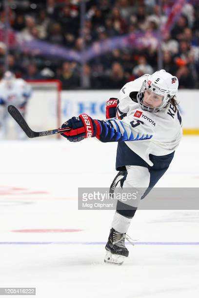 Megan Keller of the U.S. Women's Hockey Team sends the puck in the third period against the Canadian Women's National Team at Honda Center on...