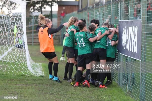 Megan Kelly of Florentia San Gimignano Women celebrates after scoring a goal during the Women Serie A match between Florentia and AC Milan on...