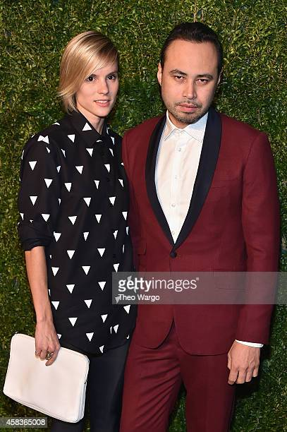Megan Key and designer Carlos Campos attend the 11th annual CFDA/Vogue Fashion Fund Awards at Spring Studios on November 3 2014 in New York City