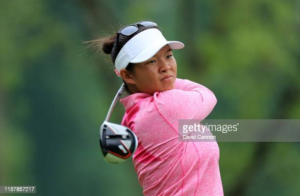 Megan Khang of the Unhited States plays her tee shot on the par 5 15th hole during the final round of the 2019 KPMG Women's PGA Championship at...
