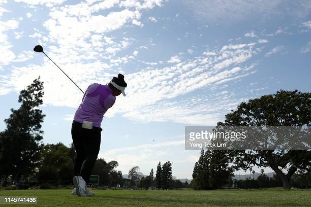 Megan Khang plays her shot from the 16th tee during the final round of the HUGELAIR PREMIA LA Open at Wilshire Country Club on April 28 2019 in Los...