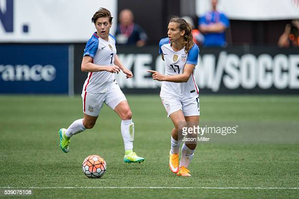 Megan Klingenberg and Tobin Heath of the US Women's National Team control the ball during the first half of a friendly match against Japan on June 5...