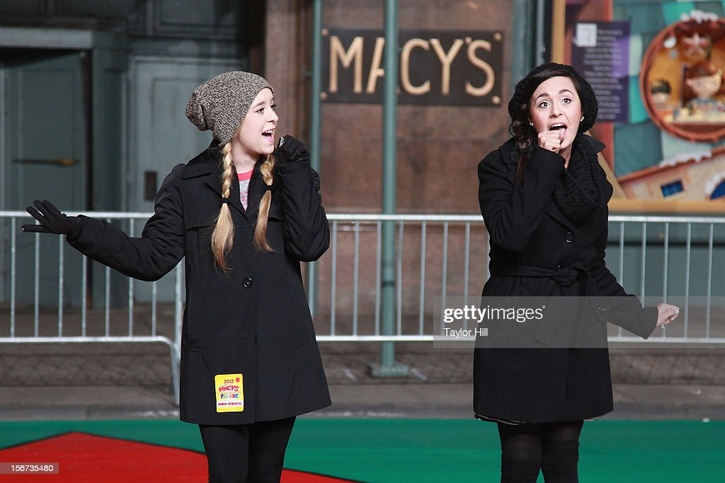 Megan & Liz perform at Day One of the 86th Anniversary Macy's Thanksgiving Day Parade Rehearsals at Macy's Herald Square on November 19, 2012 in New York City.