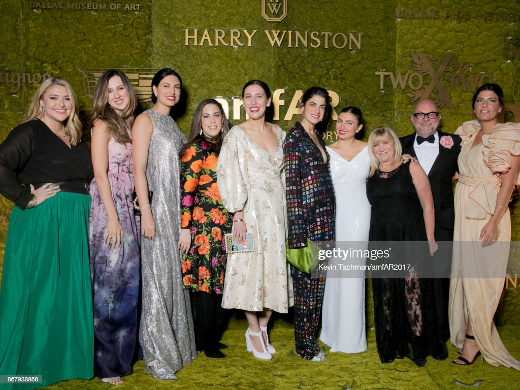 Megan Looney, Mary Katrantzou, Federica Boido, Cindy Rachofsky, Emilia Wickstead, Nasiba Hartland-Mackie, Elizabeth Chambers, Rosie Assoulin and guests at TWO X TWO for AIDS and Art 2017 at The Rachofsky House on October 28, 2017 in Dallas, Texas.