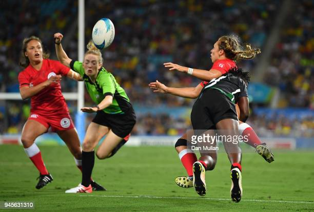 Megan Lukan of Canada is tackled by Janet Okelo of Kenya during the Rugby Sevens Women's Pool A match between Canada and Kenya on day nine of the...