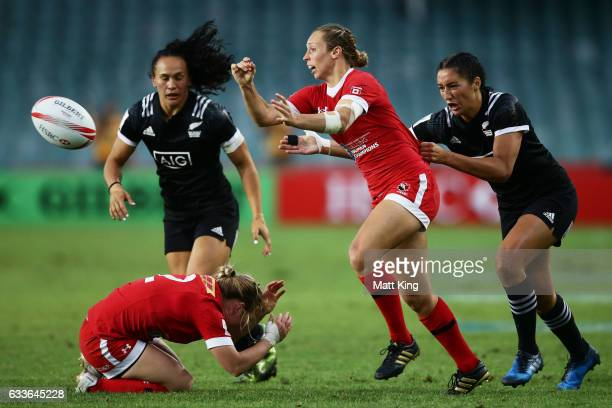 Megan Lukan of Canada passes during the womens pool match between New Zealand and Canada in the 2017 HSBC Sydney Sevens at Allianz Stadium on...