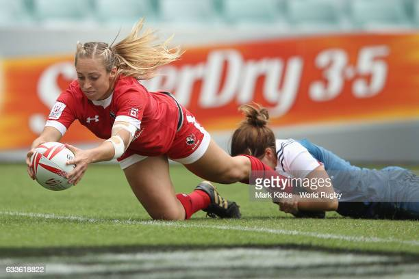 Megan Lukan of Canada scores a try during the womens Pool A match between Canada and France in the 2017 HSBC Sydney Sevens at Allianz Stadium on...