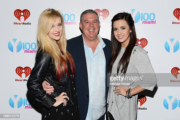 Megan Mace Elvis Duran and Elizabeth Mace attend the Y100's Jingle Ball 2012 at the BBT Center on December 8 2012 in Miami