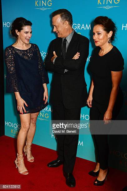 Megan Maczko Tom Hanks and Sidse Babett Knudsen attend the UK Premiere of 'A Hologram For The King' at the BFI Southbank on April 25 2016 in London...