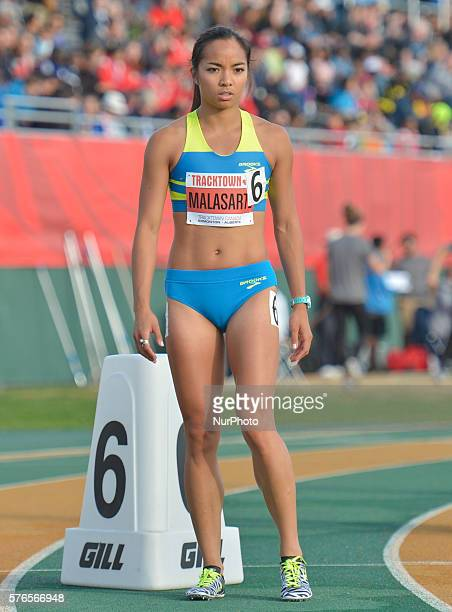 Megan Malasarte at the start to Women 800 M at Track Town Classic at the University of Albertas Foote Field in Edmonton This track amp field meeting...