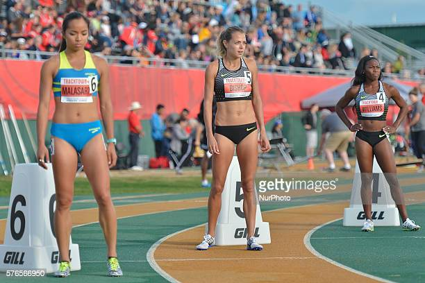 Megan Malasarte Melissa Bishop and Chrishuna Williams at the start to Women 800 M at Track Town Classic at the University of Albertas Foote Field in...