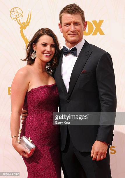 Megan Marie Coughlin and actor Philip Winchester arrive at the 67th Annual Primetime Emmy Awards at the Microsoft Theater on September 20 2015 in Los...