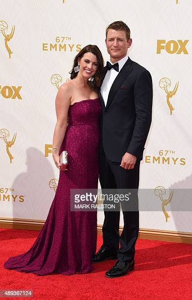 Megan Marie Coughlin and actor Philip Winchester attend the 67th Emmy Awards September 20 2015 at the Microsoft Theatre in downtown Los Angeles AFP...