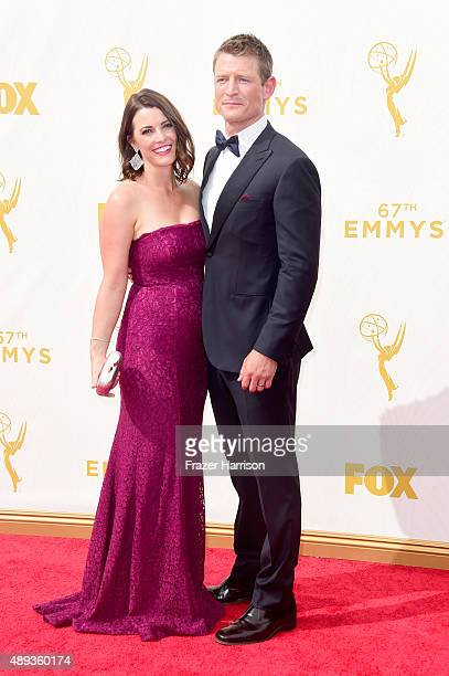 Megan Marie Coughlin and actor Philip Winchester attend the 67th Annual Primetime Emmy Awards at Microsoft Theater on September 20 2015 in Los...