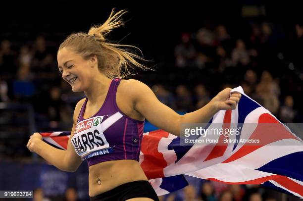 Megan Marrs of Great Britain celebrates winning the womens 60m hurdles final during day one of the SPAR British Athletics Indoor Championships at...